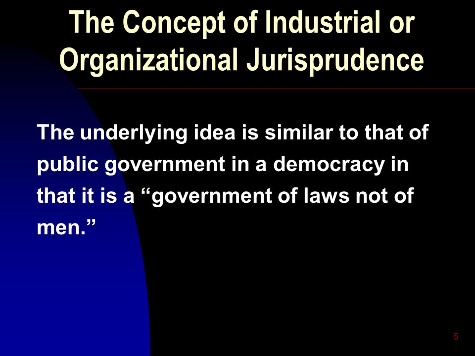 5 The Concept of Industrial or Organizational Jurisprudence The underlying idea is similar to that of public government in a democracy in that it is a government of laws not of men.