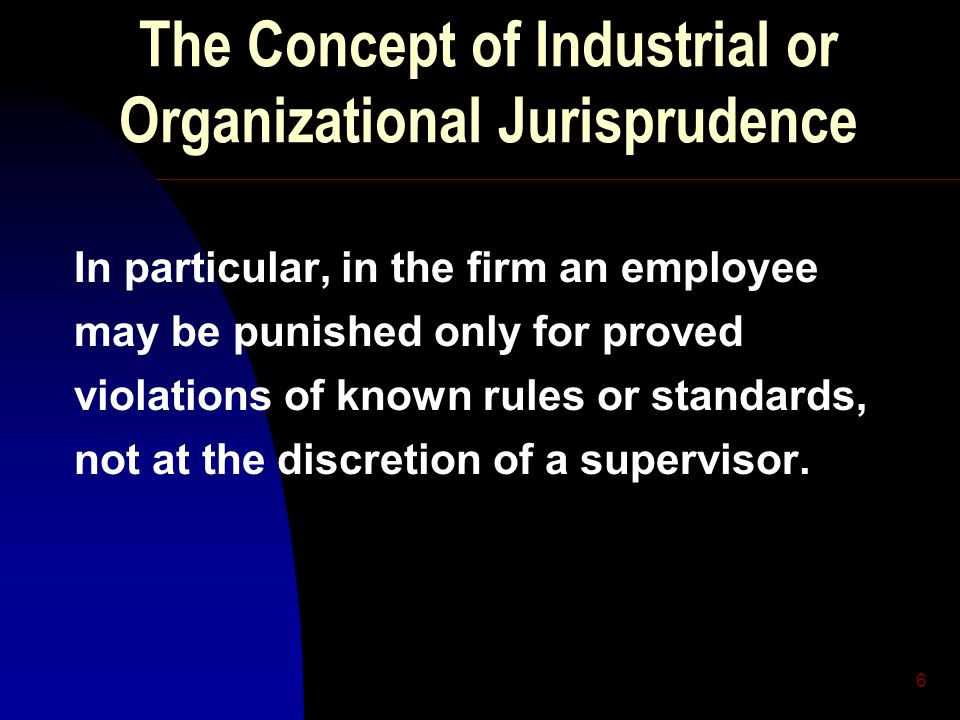 6 The Concept of Industrial or Organizational Jurisprudence In particular, in the firm an employee may be punished only for proved violations of known