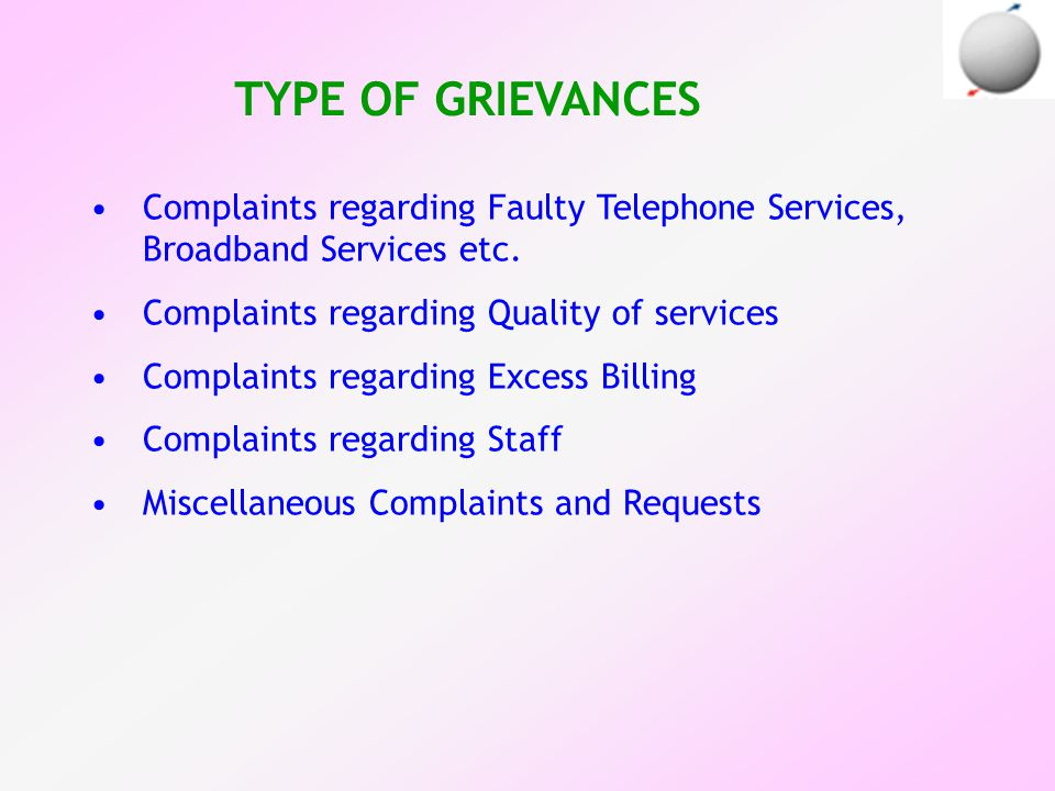 TYPE OF GRIEVANCES Complaints regarding Faulty Telephone Services, Broadband Services etc.