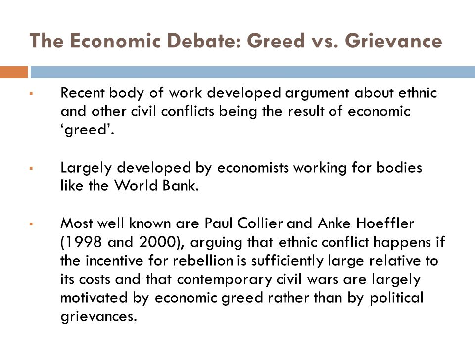 The Economic Debate: Greed vs.