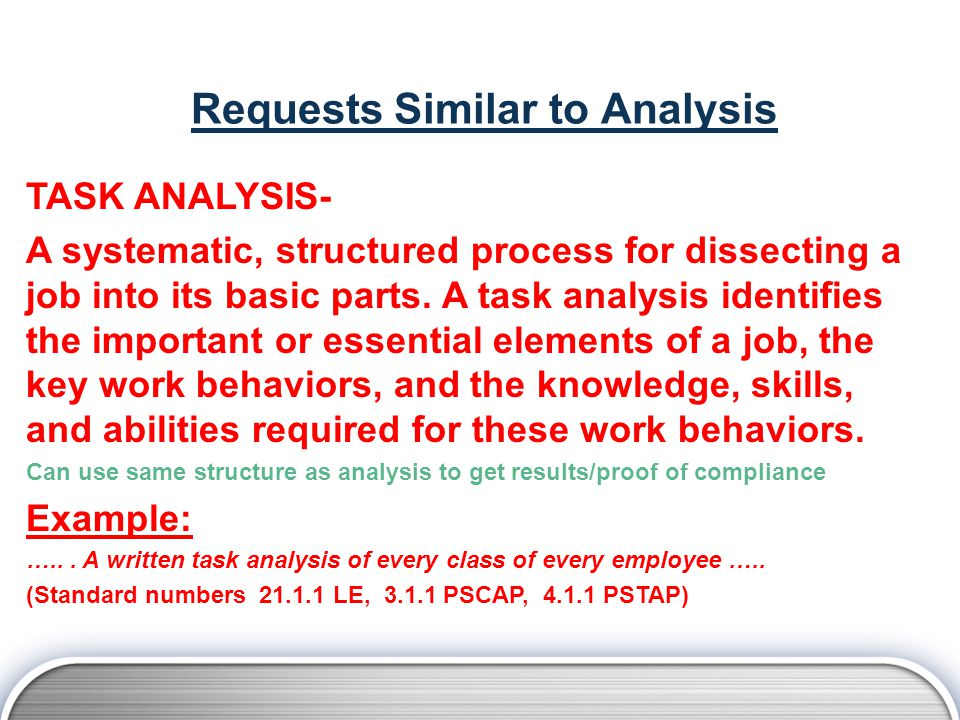 Requests Similar to Analysis TASK ANALYSIS- A systematic, structured process for dissecting a job into its basic parts.
