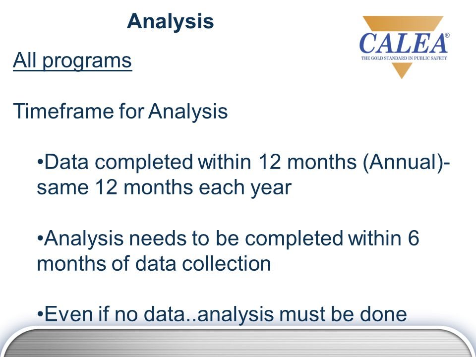 Analysis All programs Timeframe for Analysis Data completed within 12 months (Annual)- same 12 months each year Analysis needs to be completed within 6 months of data collection Even if no data..analysis must be done