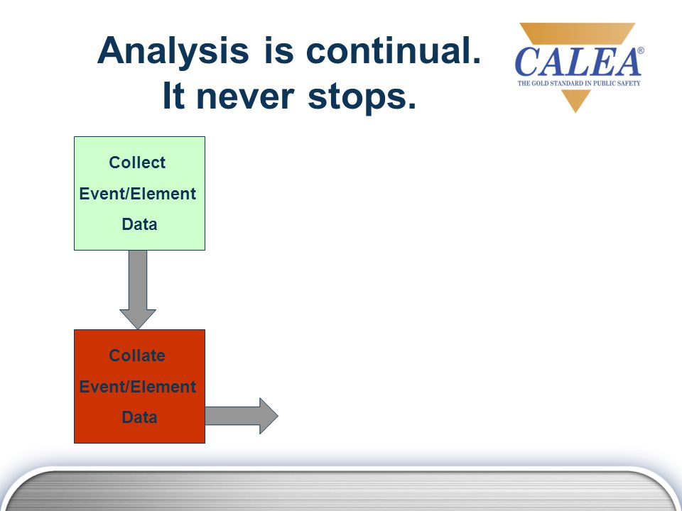 Collate Event/Element Data Put the data in some type of order so that it can be reviewed.