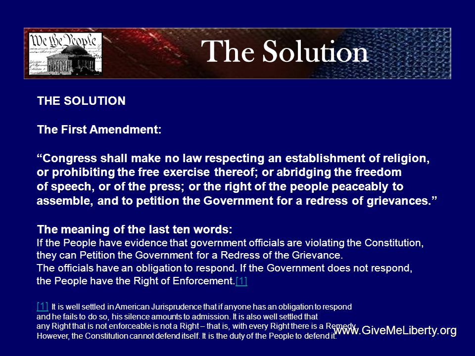 The Solution www.GiveMeLiberty.org THE SOLUTION The First Amendment: Congress shall make no law respecting an establishment of religion, or prohibiting the free exercise thereof; or abridging the freedom of speech, or of the press; or the right of the people peaceably to assemble, and to petition the Government for a redress of grievances. The meaning of the last ten words: If the People have evidence that government officials are violating the Constitution, they can Petition the Government for a Redress of the Grievance.