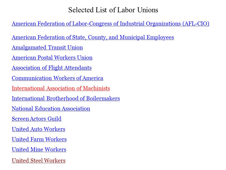American Federation of Labor-Congress of Industrial Organizations (AFL-CIO) American Federation of State, County, and Municipal Employees Amalgamated