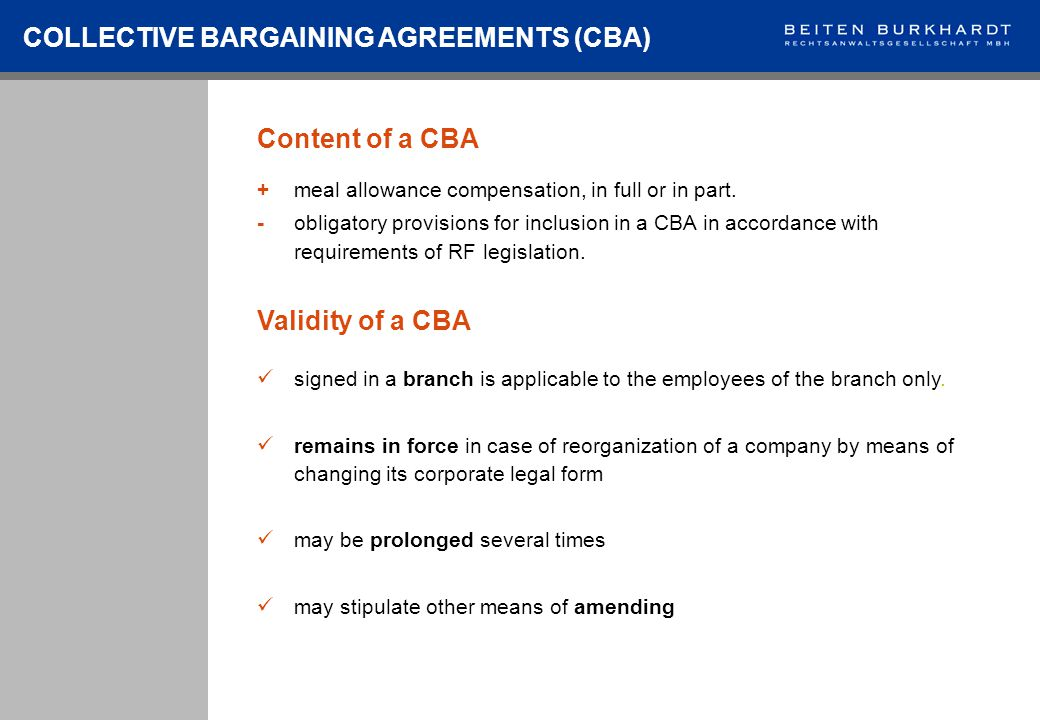 Content of a CBA COLLECTIVE BARGAINING AGREEMENTS (CBA) +meal allowance compensation, in full or in part.