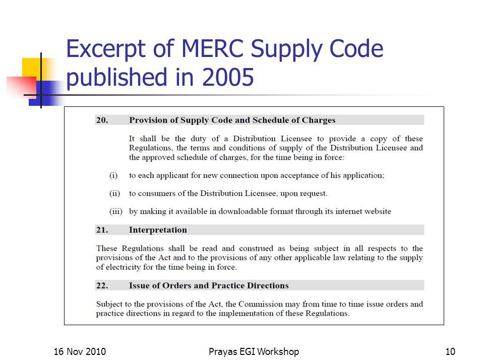Excerpt of MERC Supply Code published in 2005 16 Nov 2010Prayas EGI Workshop10