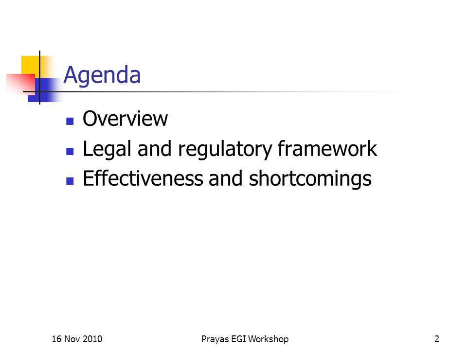 Agenda Overview Legal and regulatory framework Effectiveness and shortcomings 16 Nov 2010Prayas EGI Workshop2