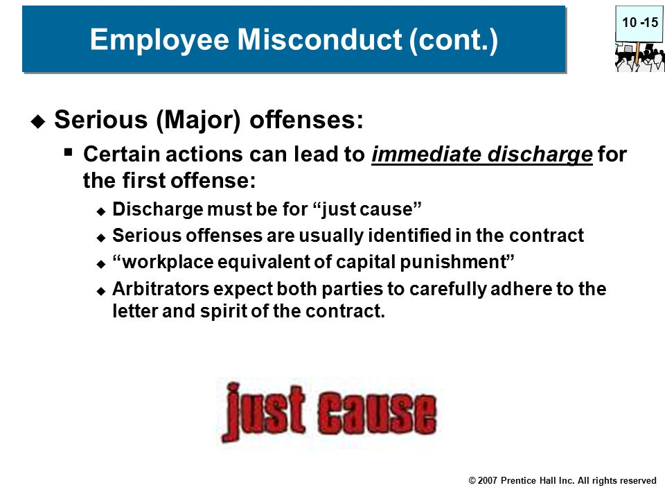 © 2007 Prentice Hall Inc. All rights reserved 10 -15 Employee Misconduct (cont.)  Serious (Major) offenses:  Certain actions can lead to immediate d