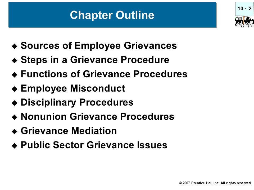© 2007 Prentice Hall Inc. All rights reserved 10 -2 Chapter Outline  Sources of Employee Grievances  Steps in a Grievance Procedure  Functions of G