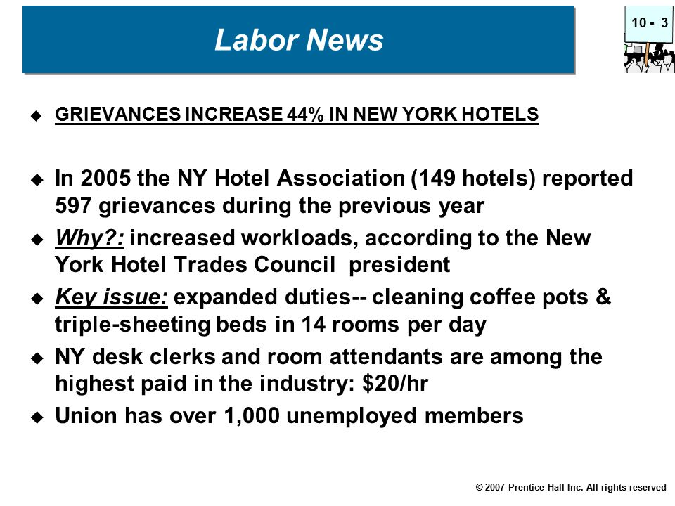 © 2007 Prentice Hall Inc. All rights reserved 10 -3 Labor News  GRIEVANCES INCREASE 44% IN NEW YORK HOTELS  In 2005 the NY Hotel Association (149 ho