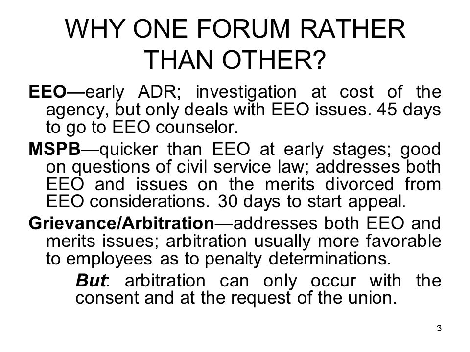44 COURT REVIEW If EEO allegations are dropped, civil service issues can go from award or MSPB review of award to Federal Circuit.