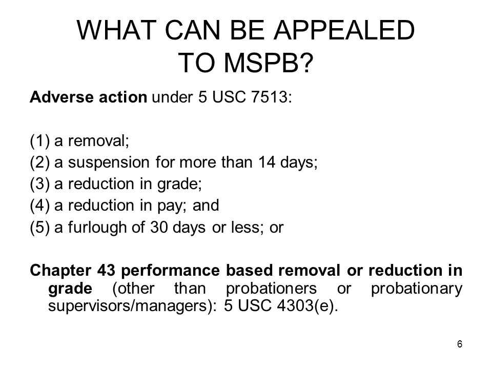 7 USUAL MSPB PROCESS APPEALINITIAL DECISION PETITION FOR REVIEW TO MSPB FEDERAL CIRCUIT