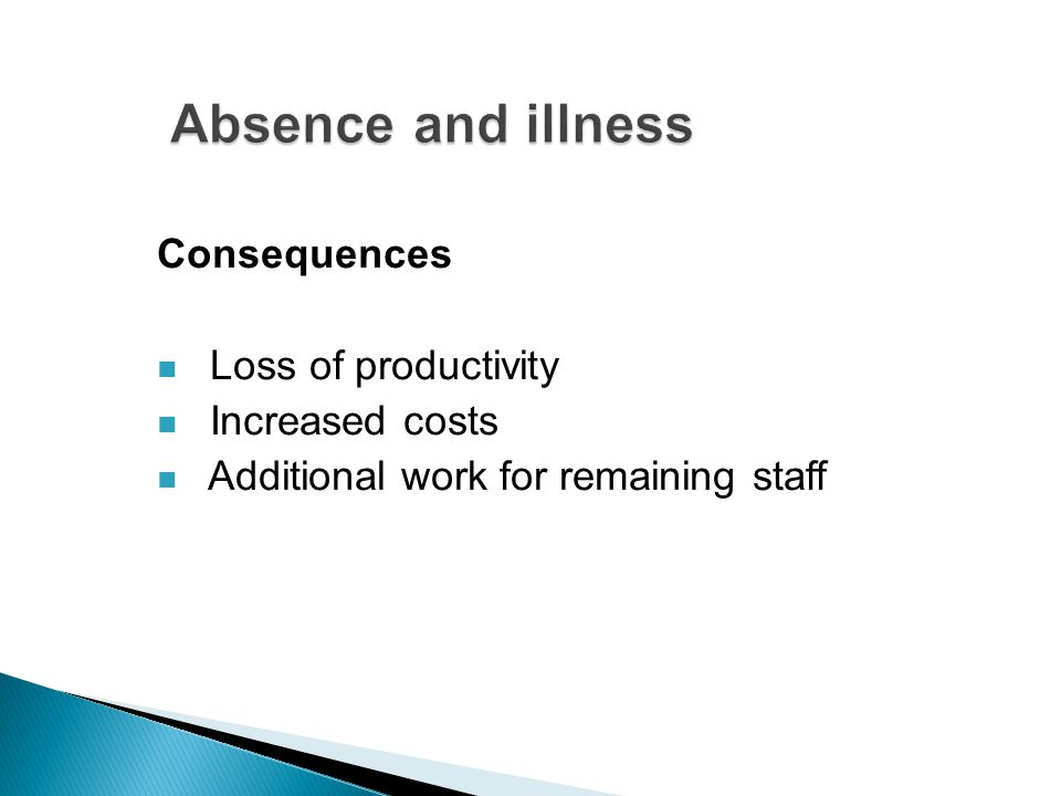 Consequences Loss of productivity Increased costs Additional work for remaining staff