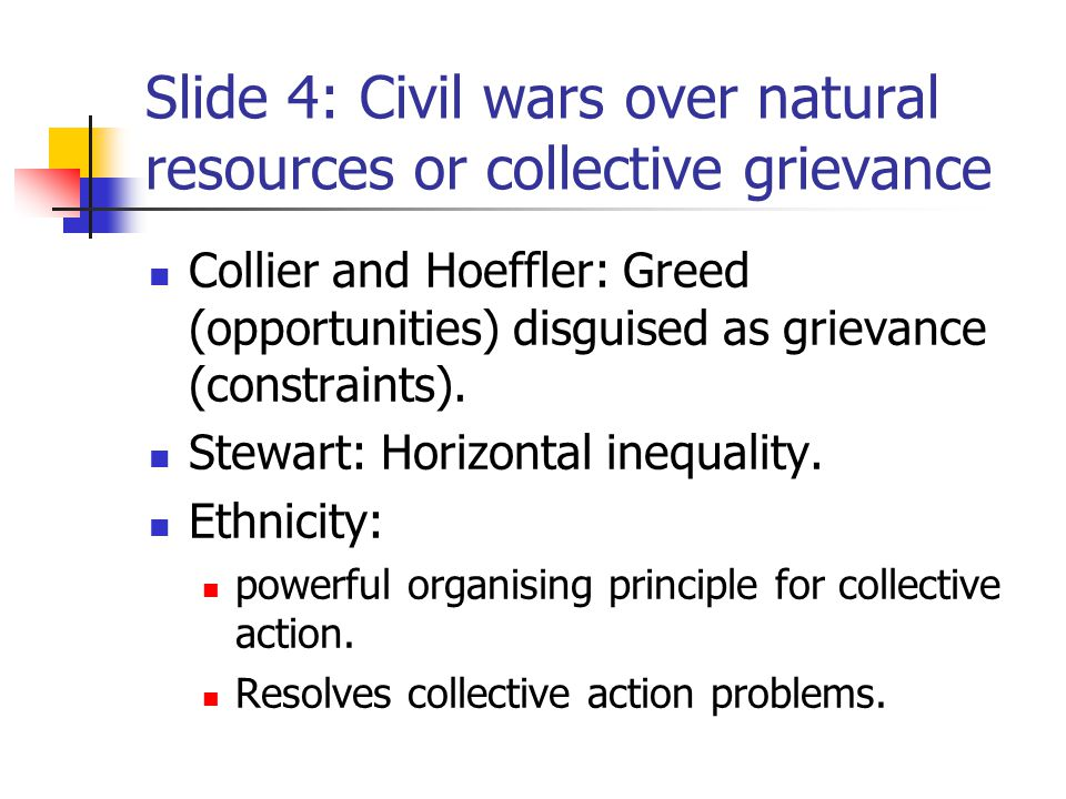 Slide 5: Grievance and horizontal inequality o Discrimination in Public Spending and Taxation.