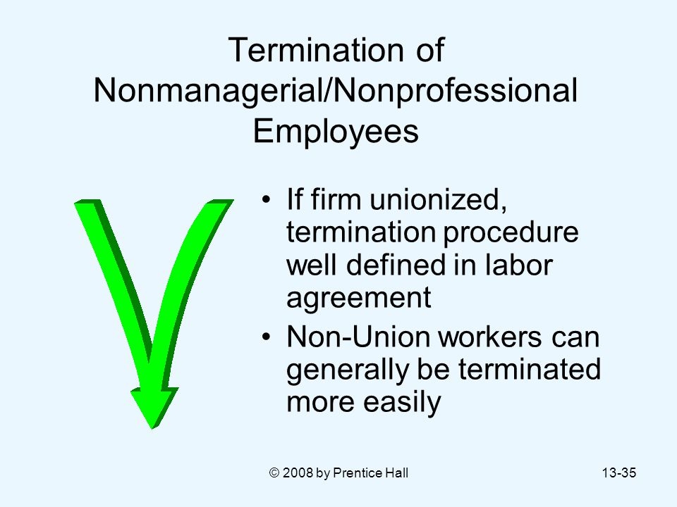 © 2008 by Prentice Hall13-35 Termination of Nonmanagerial/Nonprofessional Employees If firm unionized, termination procedure well defined in labor agr