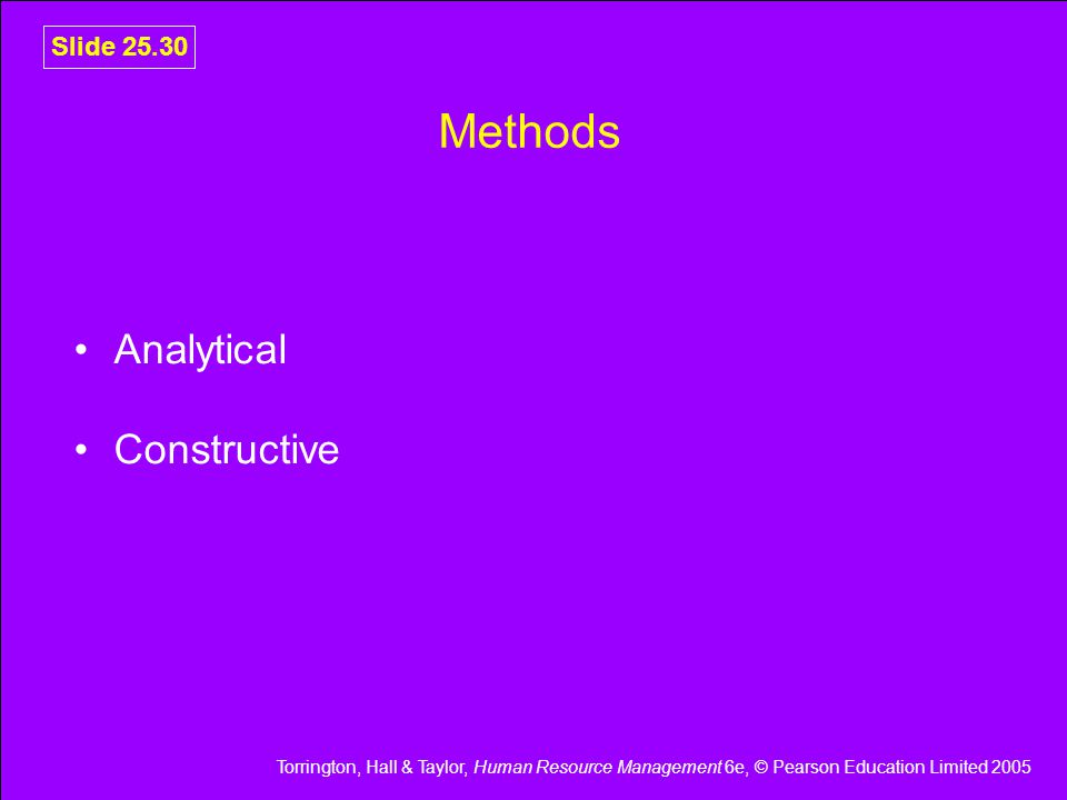 Torrington, Hall & Taylor, Human Resource Management 6e, © Pearson Education Limited 2005 Slide 25.30 Methods Analytical Constructive