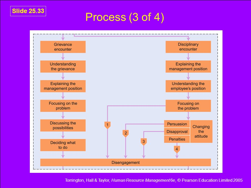 Torrington, Hall & Taylor, Human Resource Management 6e, © Pearson Education Limited 2005 Slide 25.33 Process (3 of 4)
