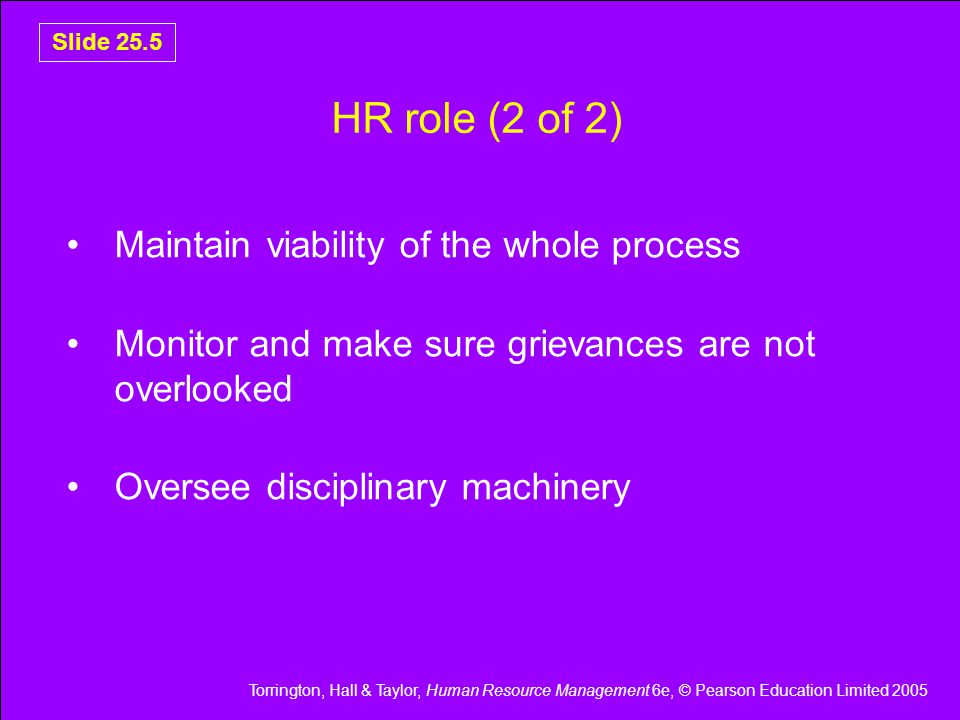 Torrington, Hall & Taylor, Human Resource Management 6e, © Pearson Education Limited 2005 Slide 25.5 HR role (2 of 2) Maintain viability of the whole process Monitor and make sure grievances are not overlooked Oversee disciplinary machinery