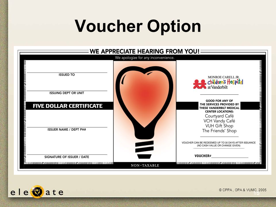 ©VUMC, 2005 15 Voucher Option picture of the voucher… © CPPA, OPA & VUMC, 2005