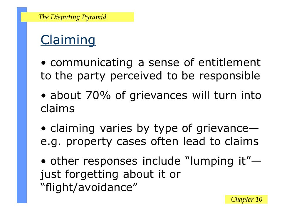Claiming communicating a sense of entitlement to the party perceived to be responsible about 70% of grievances will turn into claims claiming varies by type of grievance— e.g.
