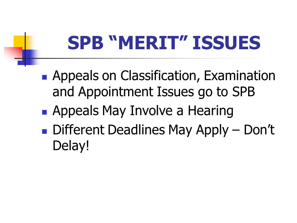 SPB MERIT ISSUES Appeals on Classification, Examination and Appointment Issues go to SPB Appeals May Involve a Hearing Different Deadlines May Apply – Don't Delay!
