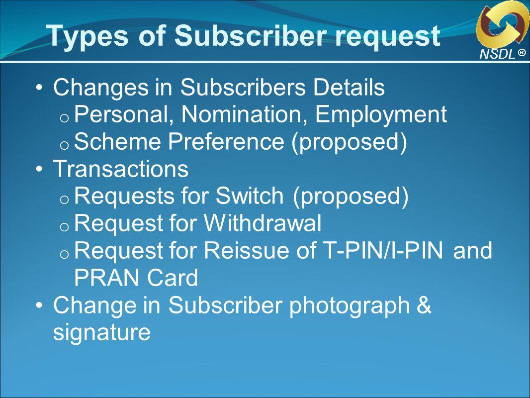 Subscriber PAO NPSCAN CRA 1.Change details Request 4.