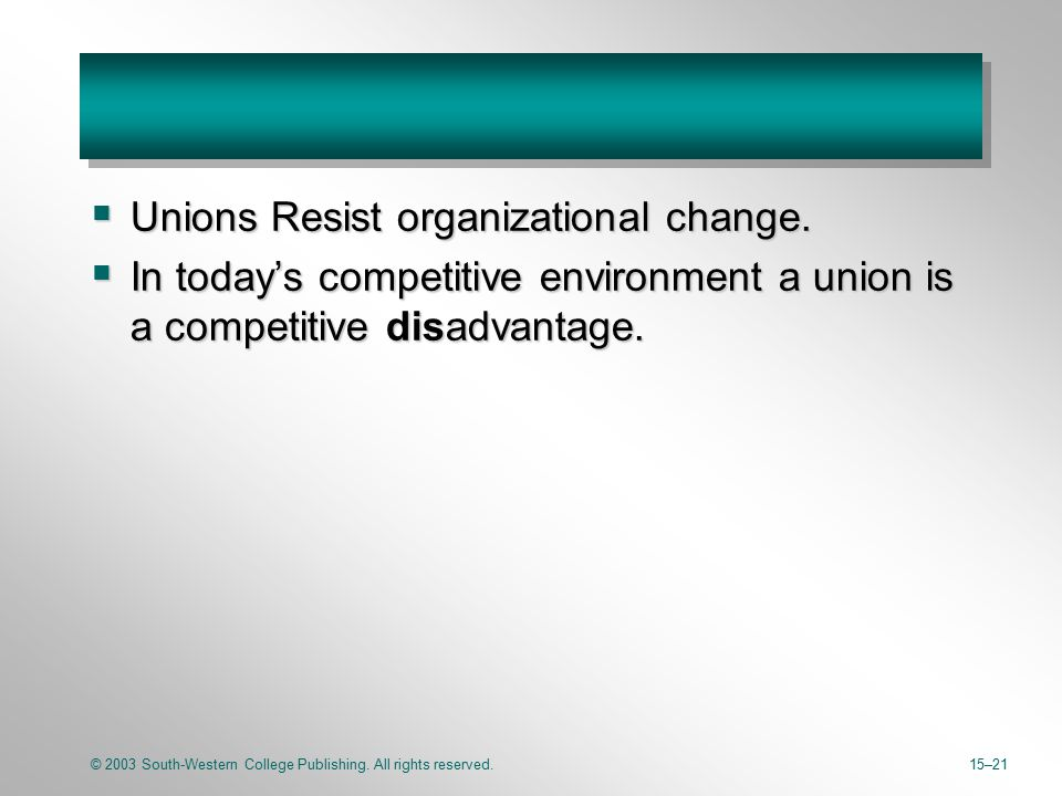 © 2003 South-Western College Publishing. All rights reserved.15–21  Unions Resist organizational change.  In today's competitive environment a union
