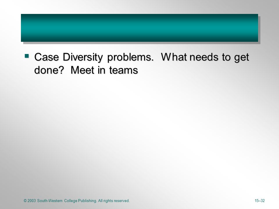 © 2003 South-Western College Publishing. All rights reserved.15–32  Case Diversity problems. What needs to get done? Meet in teams