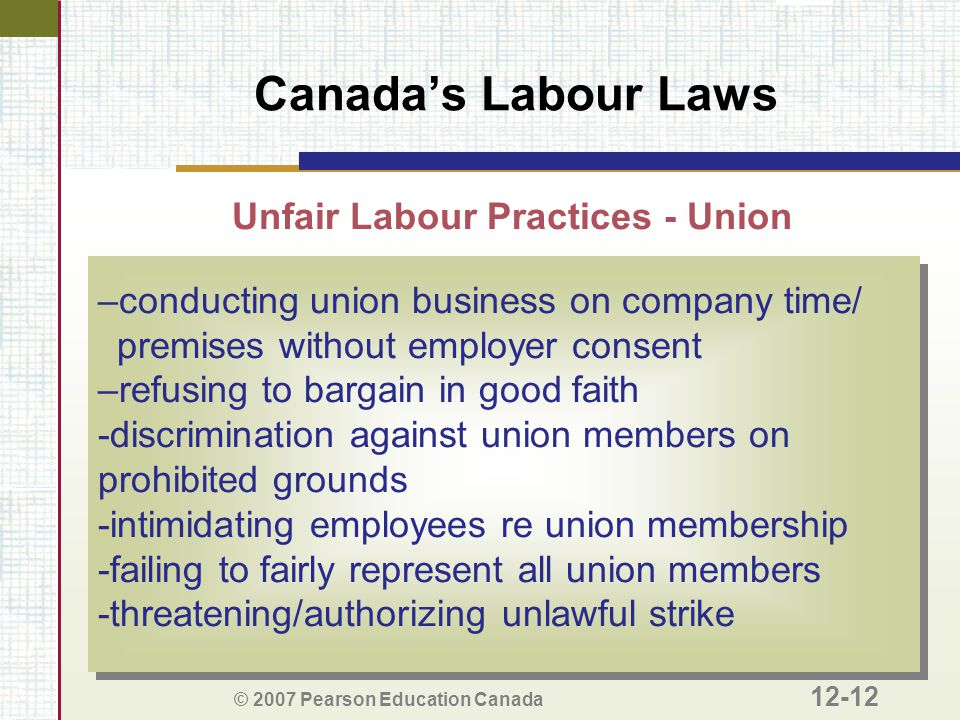 © 2007 Pearson Education Canada 12-12 Canada's Labour Laws Unfair Labour Practices - Union –conducting union business on company time/ premises withou