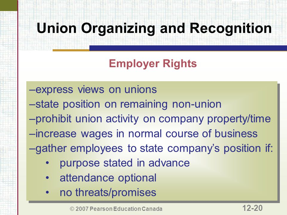 © 2007 Pearson Education Canada 12-20 Union Organizing and Recognition Employer Rights –express views on unions –state position on remaining non-union