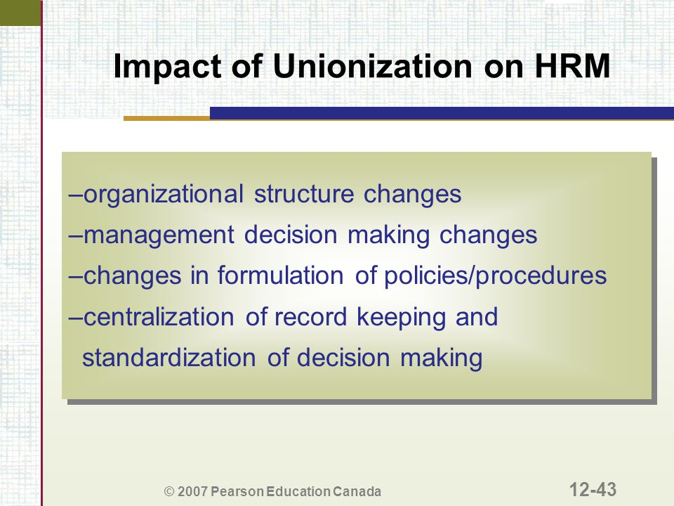 © 2007 Pearson Education Canada 12-43 Impact of Unionization on HRM –organizational structure changes –management decision making changes –changes in