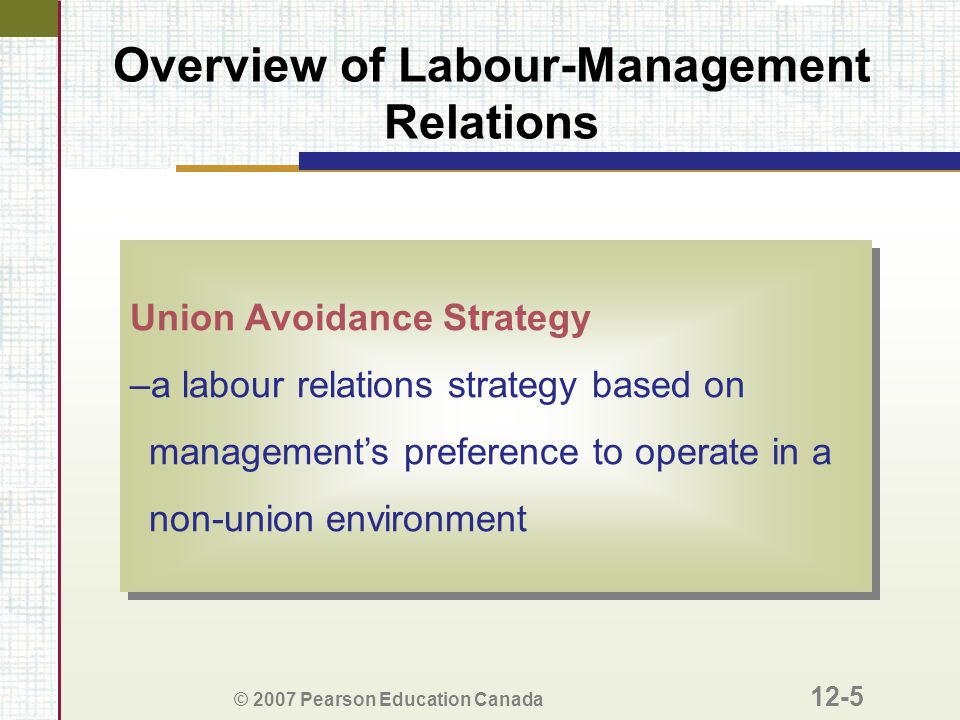 © 2007 Pearson Education Canada 12-5 Overview of Labour-Management Relations Union Avoidance Strategy –a labour relations strategy based on management