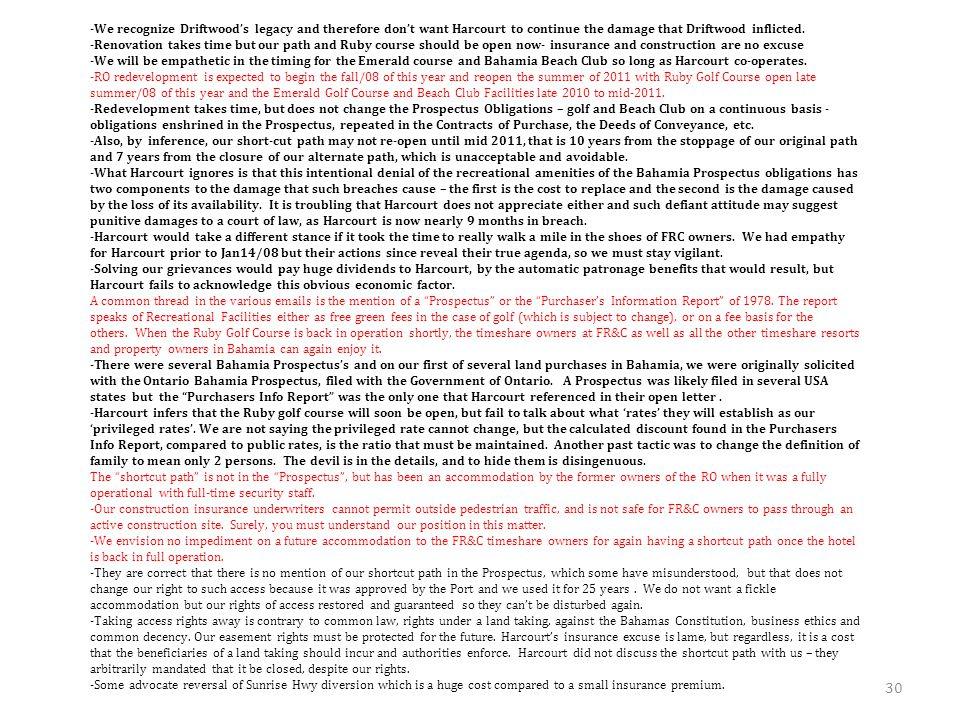 EXH #2 - FREEPORT RESORT & CLUB DEVELOPER'S REBUTTAL TO HARCOURT'S JULY/08 OPEN LETTER -Harcourt's July/08 Open Letter is as negative to Freeport Reso
