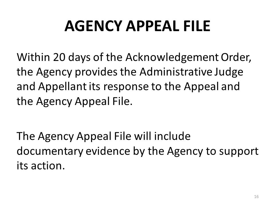 AGENCY APPEAL FILE Within 20 days of the Acknowledgement Order, the Agency provides the Administrative Judge and Appellant its response to the Appeal and the Agency Appeal File.