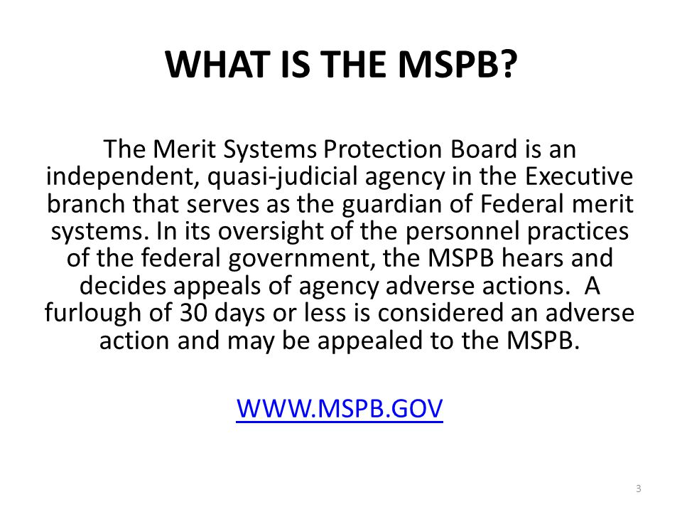 WHAT IS THE MSPB.