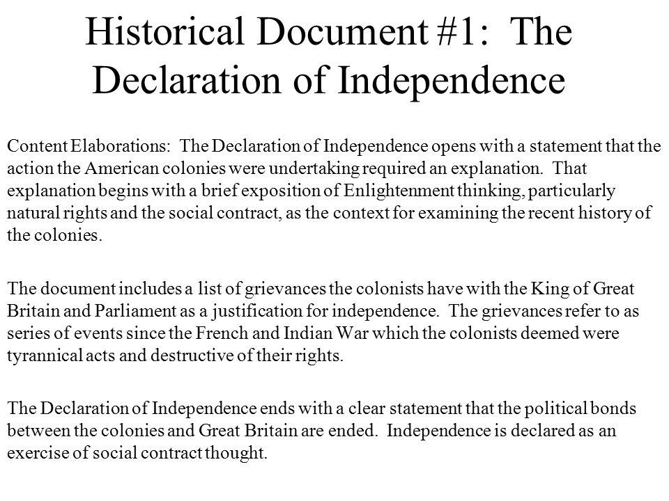 1.Declaration of Independence 2. Northwest Ordinance 3.