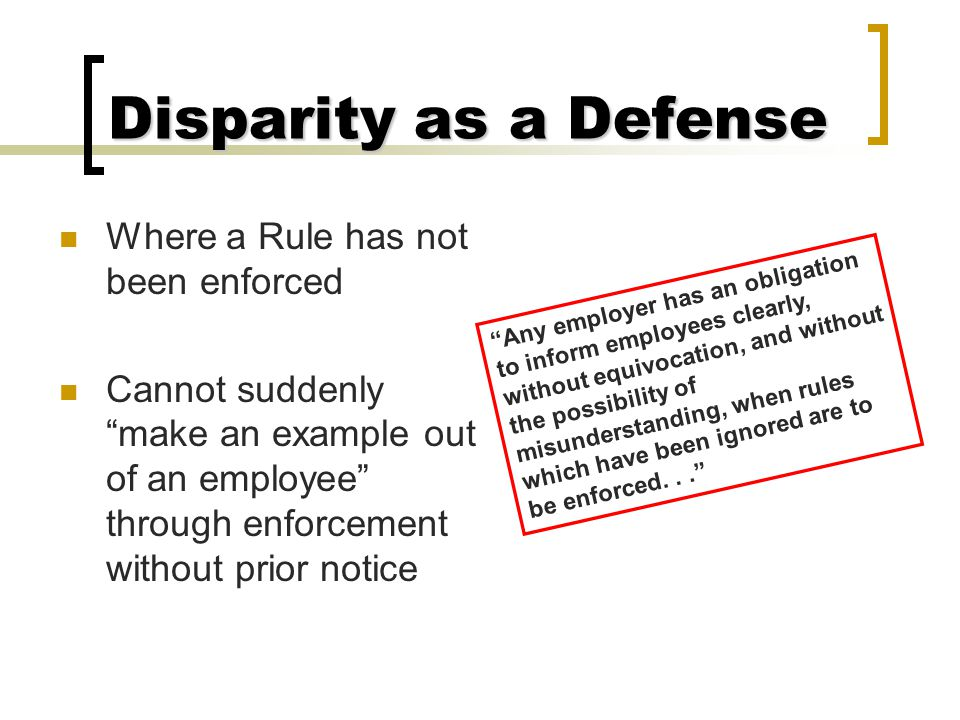 Disparity as a Defense Comparison Employees  Other Bargaining Unit Employees  Supervisors