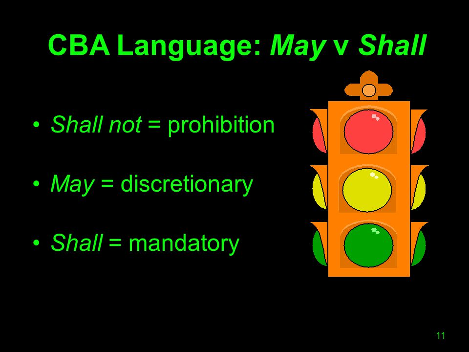 CBA Language: May v Shall Shall not = prohibition May = discretionary Shall = mandatory 11