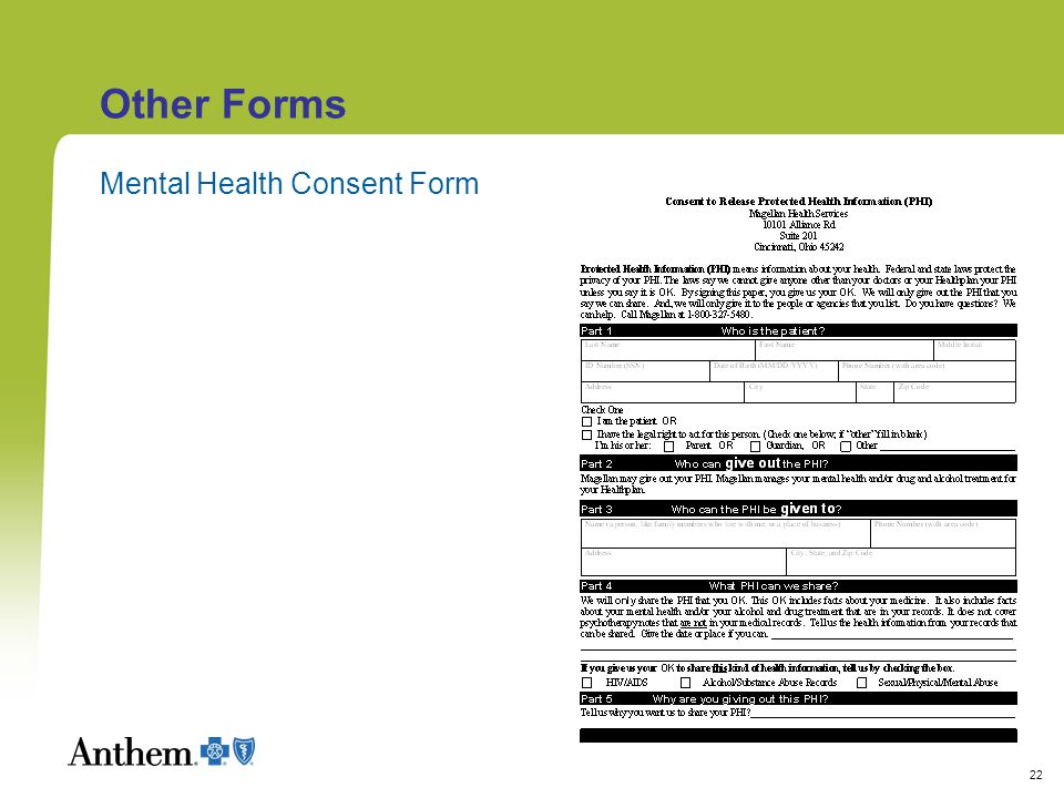 22 Other Forms Mental Health Consent Form