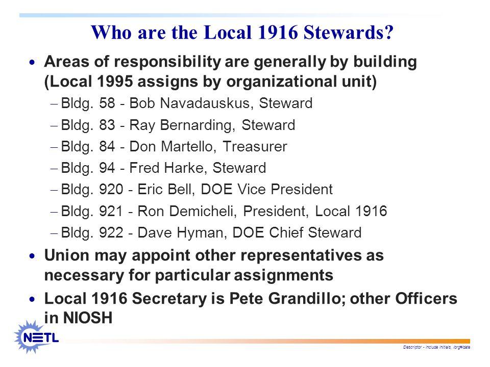 Descriptor - include initials, /org#/date Who are the Local 1916 Stewards.