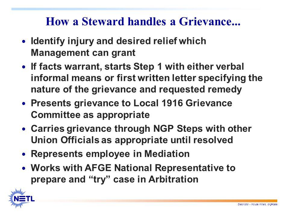 Descriptor - include initials, /org#/date How a Steward handles a Grievance...