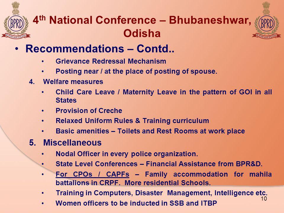 4 th National Conference – Bhubaneshwar, Odisha Recommendations – Contd..