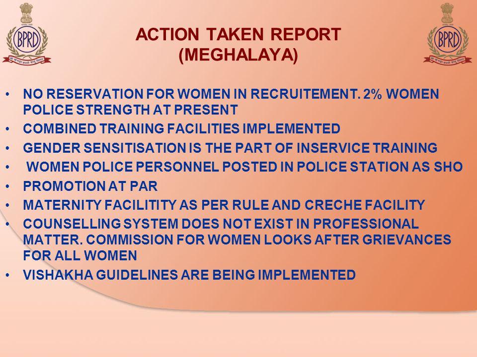 ACTION TAKEN REPORT (MEGHALAYA) NO RESERVATION FOR WOMEN IN RECRUITEMENT.