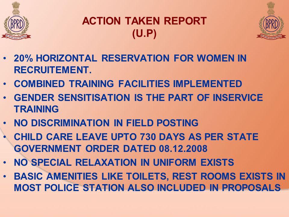 ACTION TAKEN REPORT (U.P) 20% HORIZONTAL RESERVATION FOR WOMEN IN RECRUITEMENT.