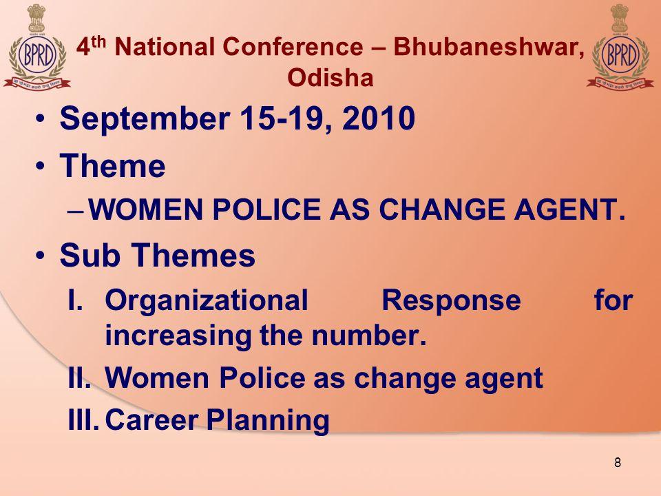 4 th National Conference – Bhubaneshwar, Odisha September 15-19, 2010 Theme –WOMEN POLICE AS CHANGE AGENT.