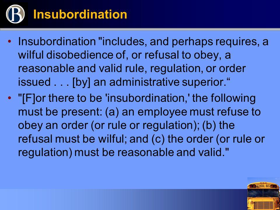 Insubordination Insubordination