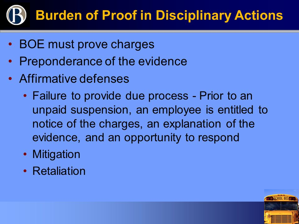 Burden of Proof in Disciplinary Actions BOE must prove charges Preponderance of the evidence Affirmative defenses Failure to provide due process - Pri