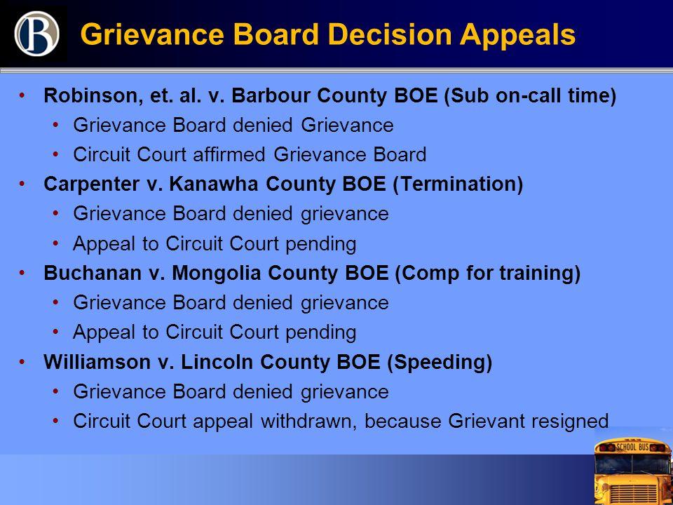 Grievance Board Decision Appeals Robinson, et. al.