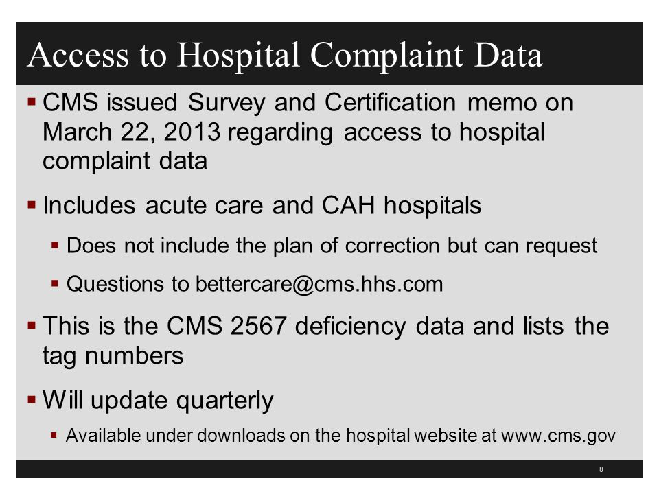 59  Facility must respond to the substance of each and every grievance  Need to dig deeper into system problems indicated by the grievance using the system analysis approach  Note the relationship to TJC sentinel event policy and LD medical error standards, CMS guidelines for determining immediate jeopardy, HIPAA privacy and security complaints, and risk management/patient safety investigations Hospital Grievance Procedure